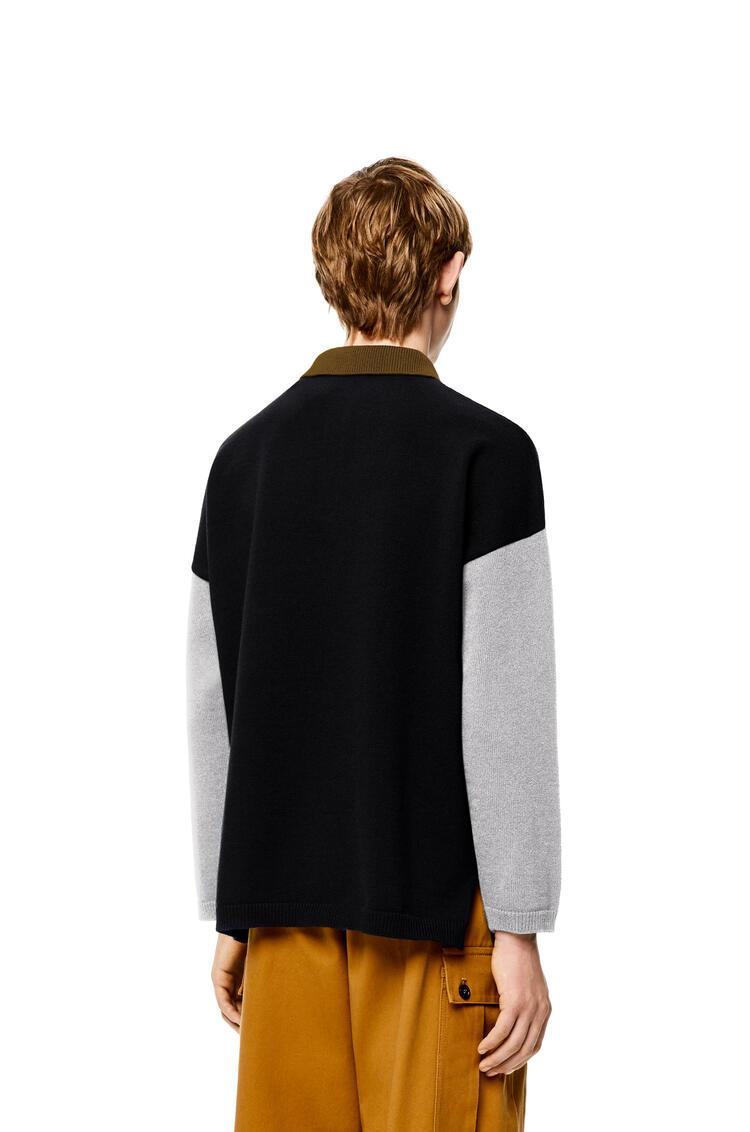 LOEWE Jersey en lana con cuello de polo Negro/Gris pdp_rd