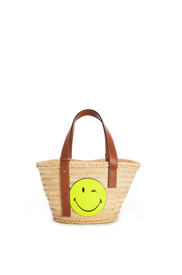 LOEWE スマイリー ワールド® バスケットバッグ(ヤシの葉&カーフスキン) Natural/Neon Yellow pdp_rd