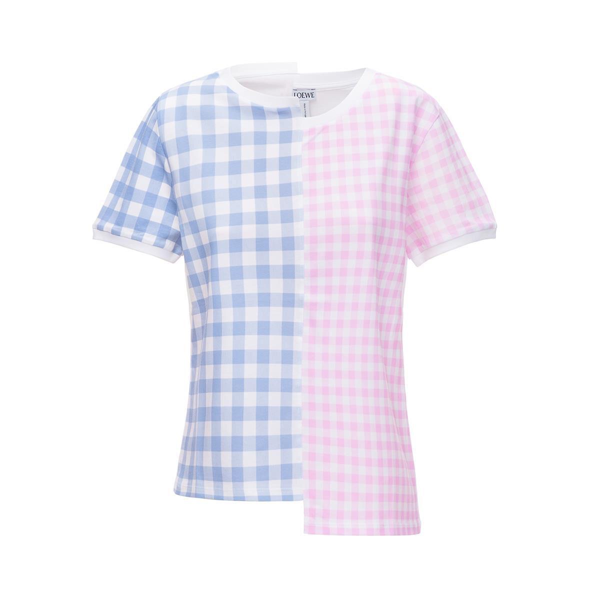 LOEWE Gingham Loewe T-Shirt Pink/Blue all