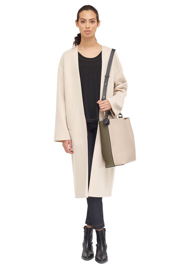 LOEWE Collarless Coat Light Beige front