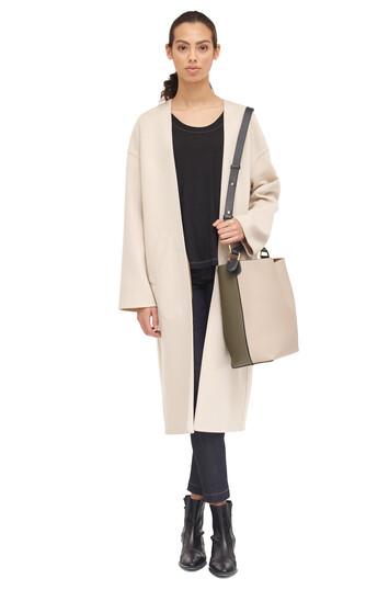 LOEWE Collarless Coat Beige Claro front