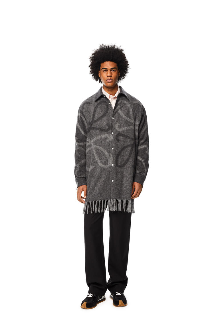 LOEWE Anagram blanket shirt in wool and cashmere Grey pdp_rd