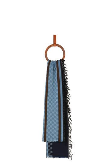 LOEWE 70 x 157 cm LOEWE anagram scarf in cotton Navy Blue pdp_rd