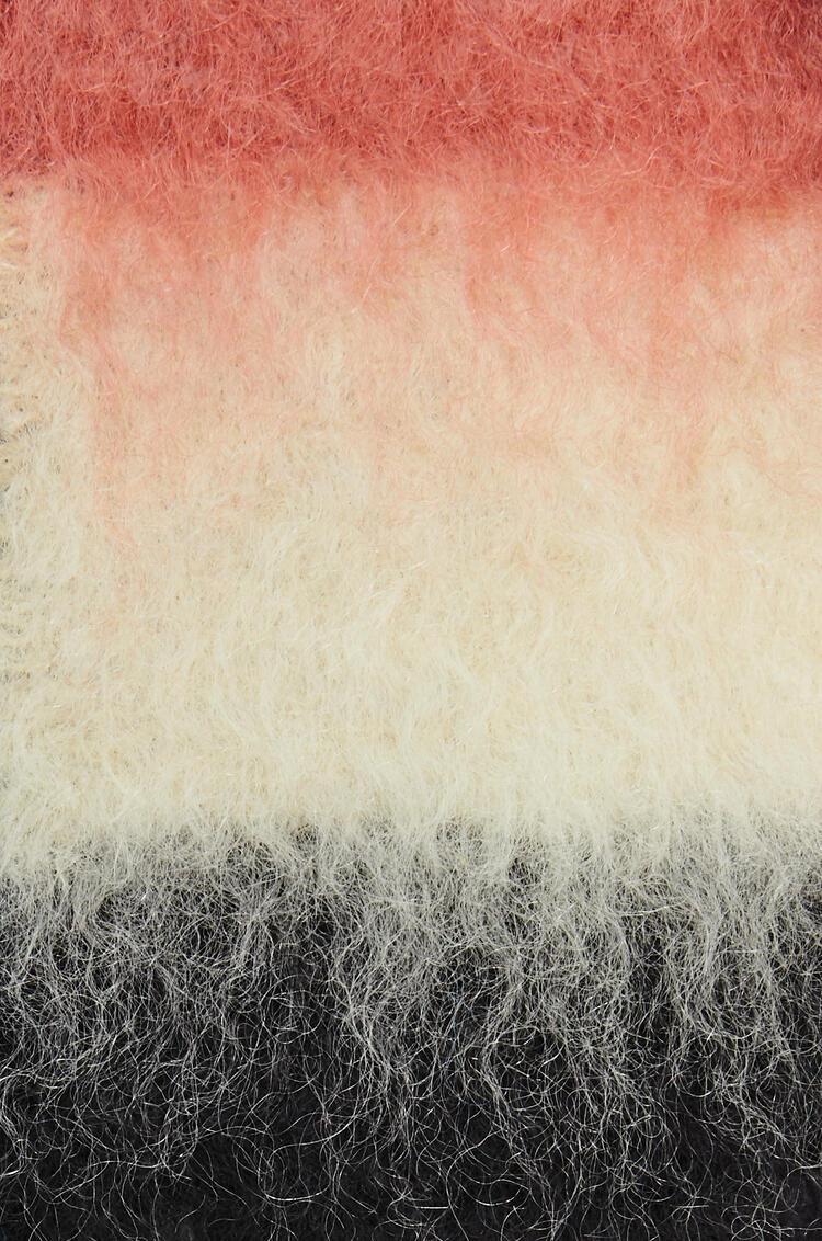 LOEWE Bufanda en lana mohair con rayas Rojo Óxido/Marrón Oscuro pdp_rd