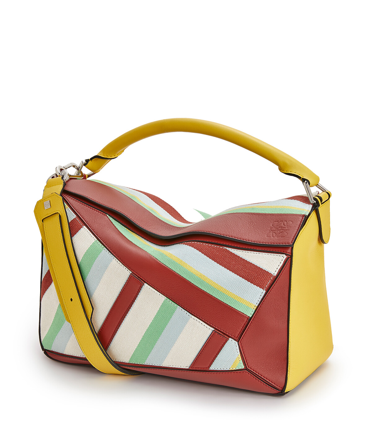 LOEWE 大号条纹Puzzle手袋 Yellow/Multicolour front