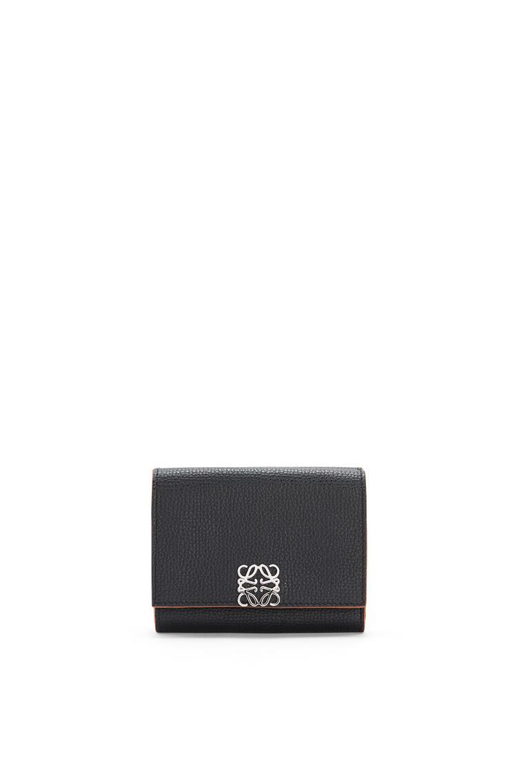 LOEWE Anagram trifold 6 cc wallet in pebble grain calfskin Black pdp_rd