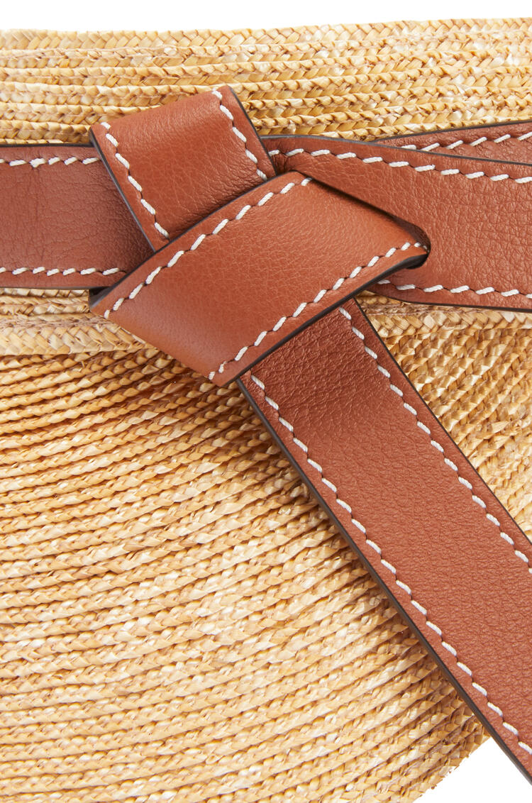 LOEWE Gate visor in straw and calfskin Natural/Tan pdp_rd