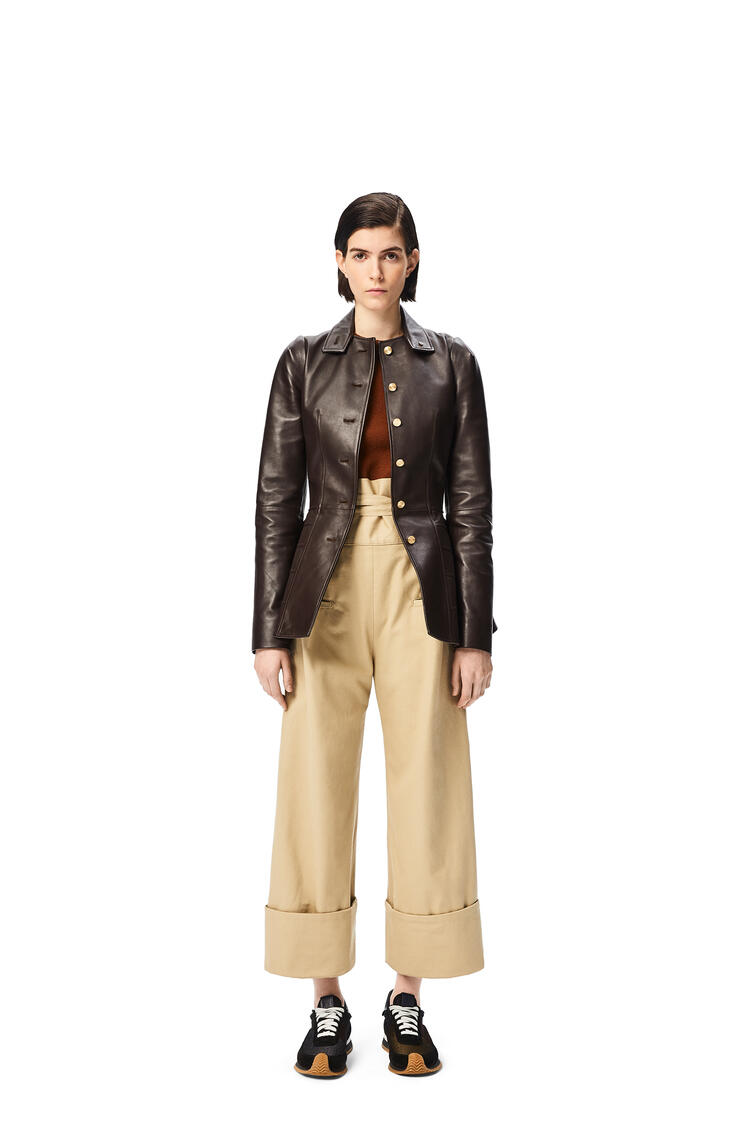 LOEWE Oversize turn up trousers in cotton Stone pdp_rd