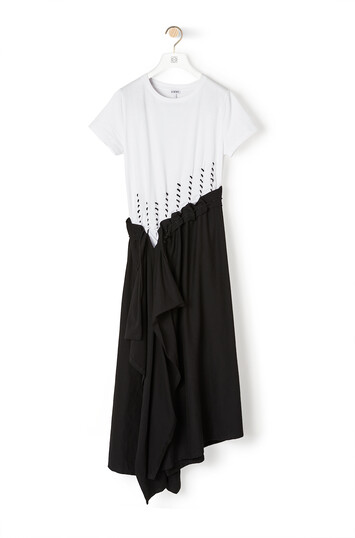 LOEWE Woven Satin & Jersey Dress 淡褐色 front