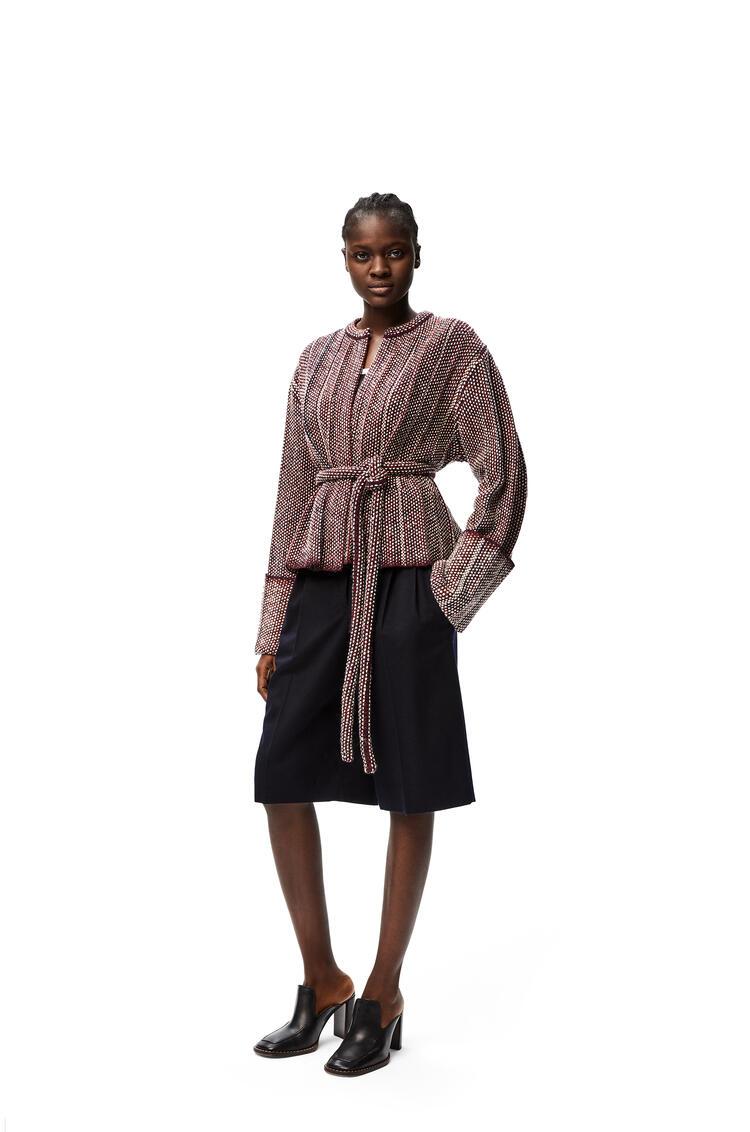 LOEWE Pleated knit jacket in wool Burgundy/Navy pdp_rd