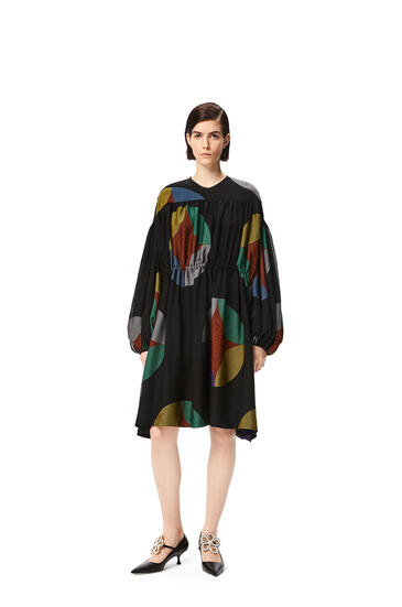 LOEWE Kaleidoscope jacquard gathered dress Multicolor pdp_rd