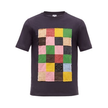 LOEWE T-Shirt Patch Patchwork Azul/Multicolor front