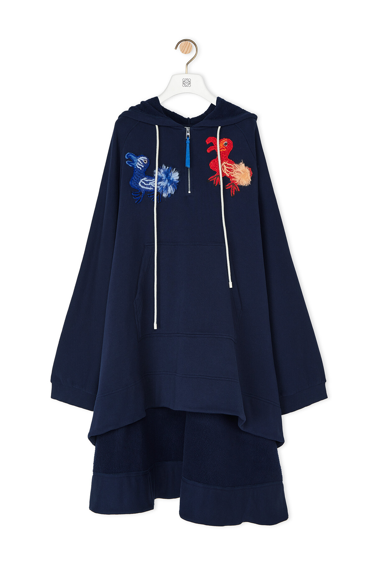 LOEWE Embroidered Oversize Hoodie Animals Navy Blue front