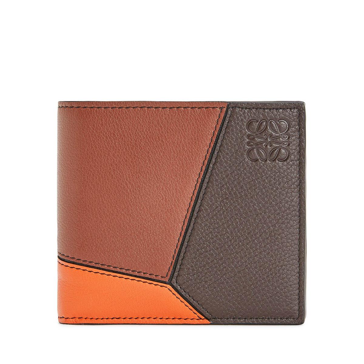 LOEWE Puzzle Bifold/Coin Wallet Cognac/Chocolate Brown front