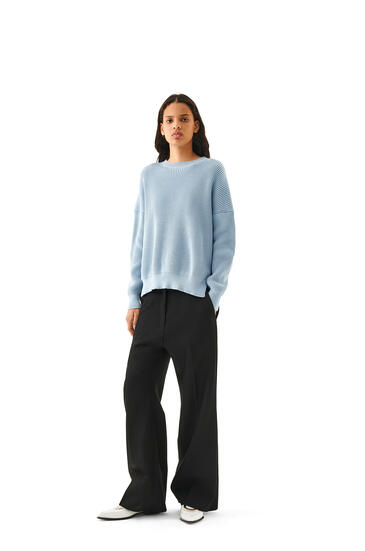 LOEWE Rib Sweater In Cotton Baby Blue pdp_rd