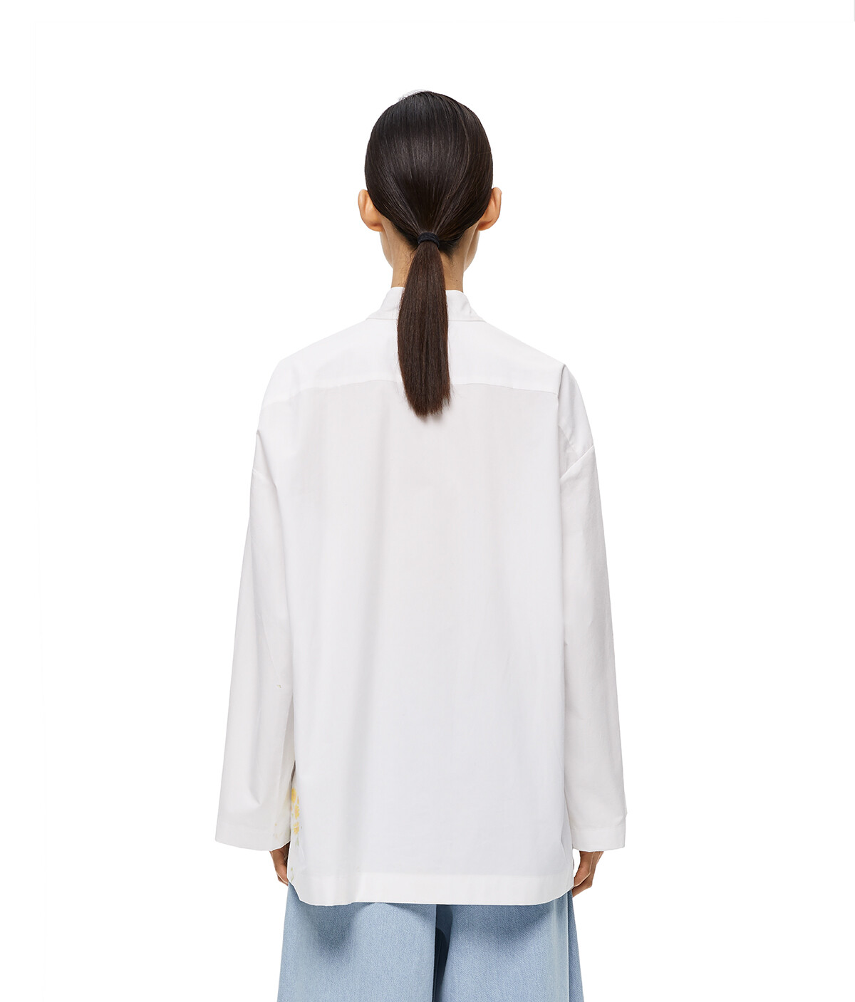 LOEWE Flower Print Asym Ov Shirt Blanco front