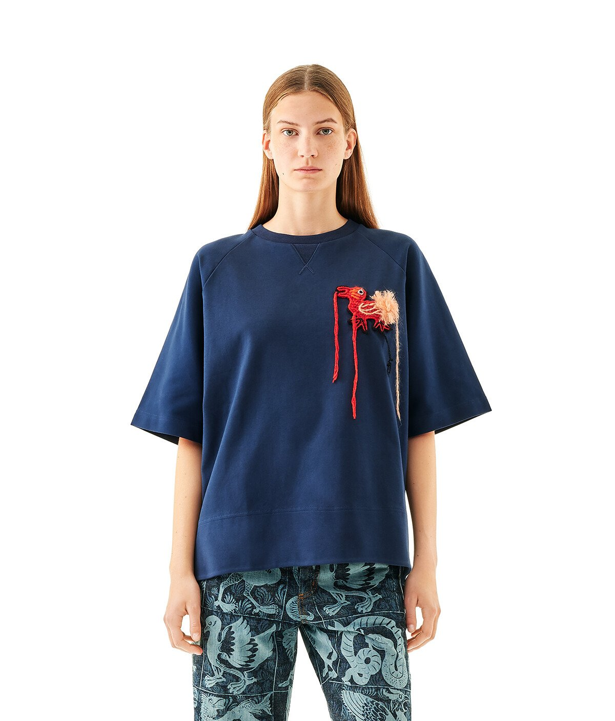 LOEWE Embroidered T-Shirt Dodo Navy Blue front