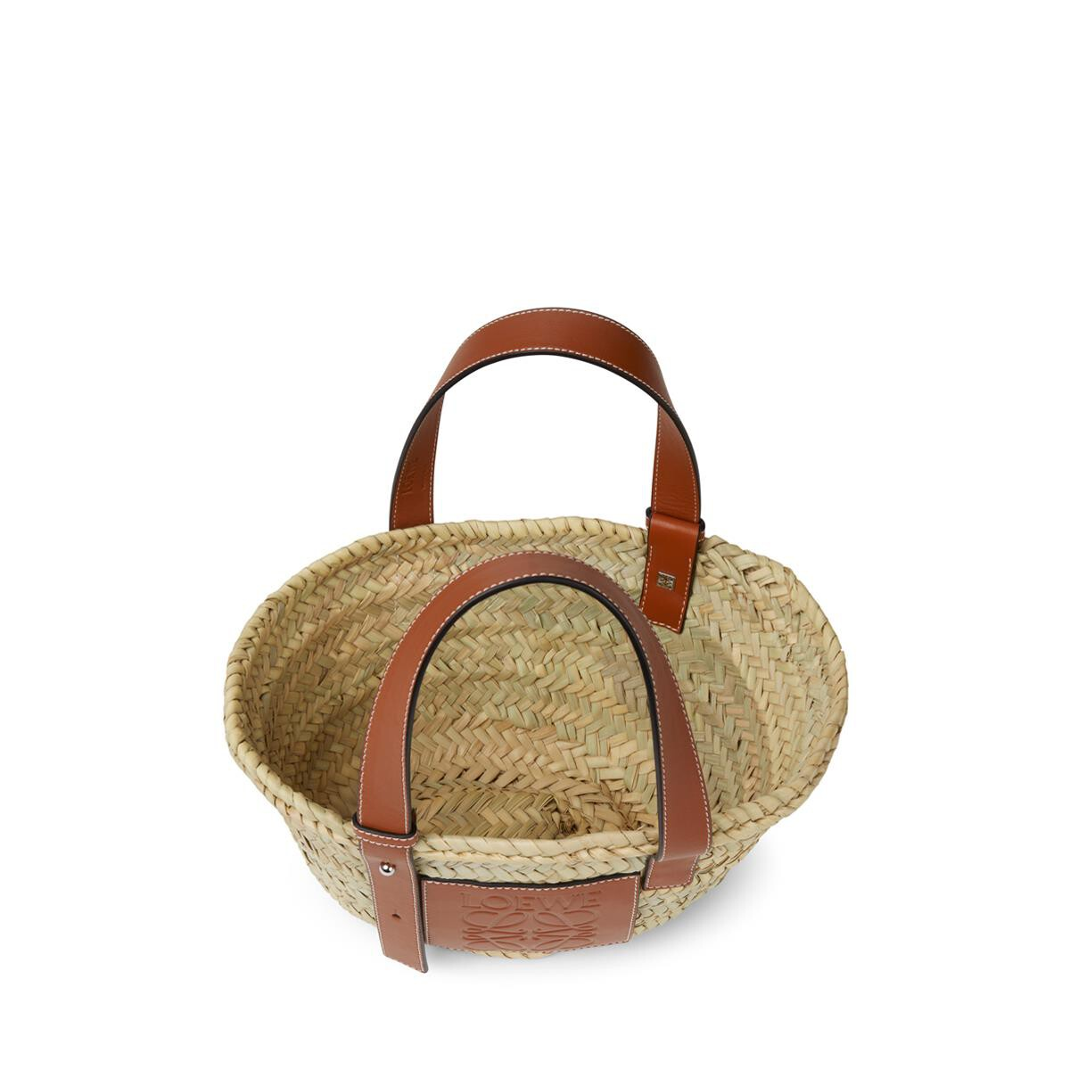 LOEWE Small Basket Bag In Palm Leaf And Calfskin Natural/Tan front
