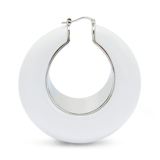 LOEWE Loop Earrings White front