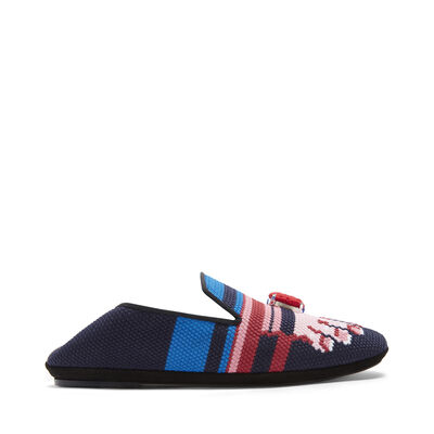 LOEWE Embroidered Slipper Toes Pink/Navy Blue front