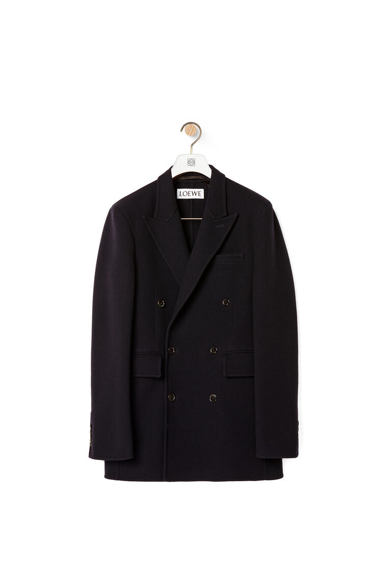 LOEWE Double-breasted jacket in wool and cashmere Navy Blue pdp_rd