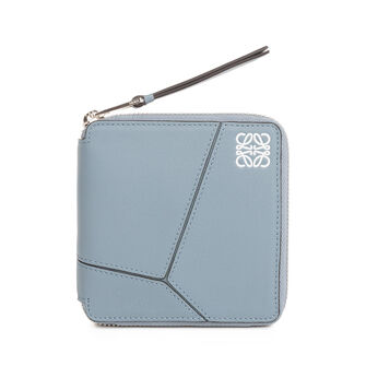 LOEWE Puzzle Square Zip Wallet Stone Blue front