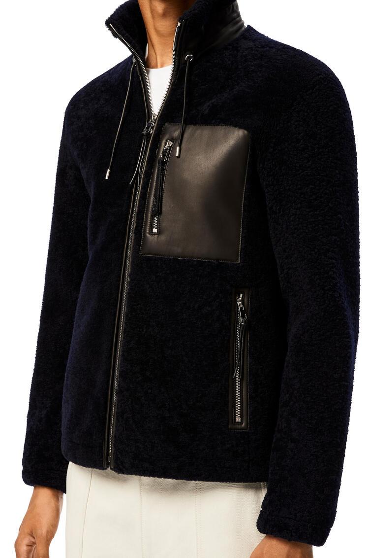 LOEWE Shearling jacket in novack Navy Blue/Black pdp_rd