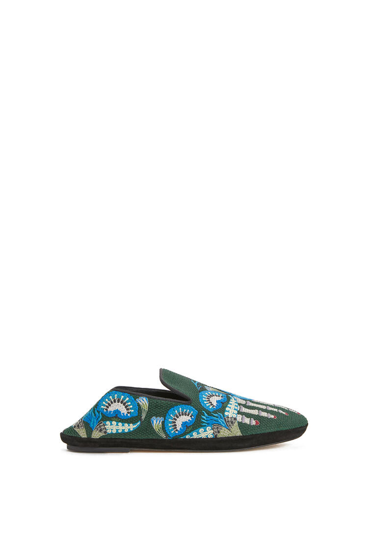 LOEWE Embroidered Slipper In Canvas Dark Green/Multicolour pdp_rd
