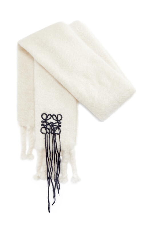 LOEWE 45X230 Scarf Mohair Stitches White/Black front