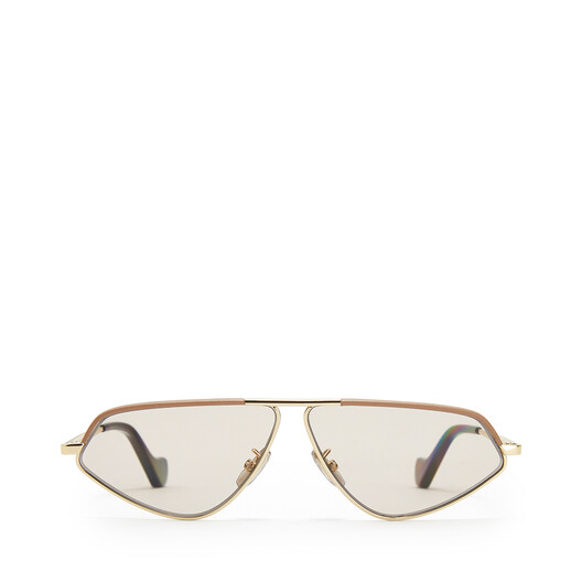LOEWE Leather Geometric Sunglasses Hazelnut front
