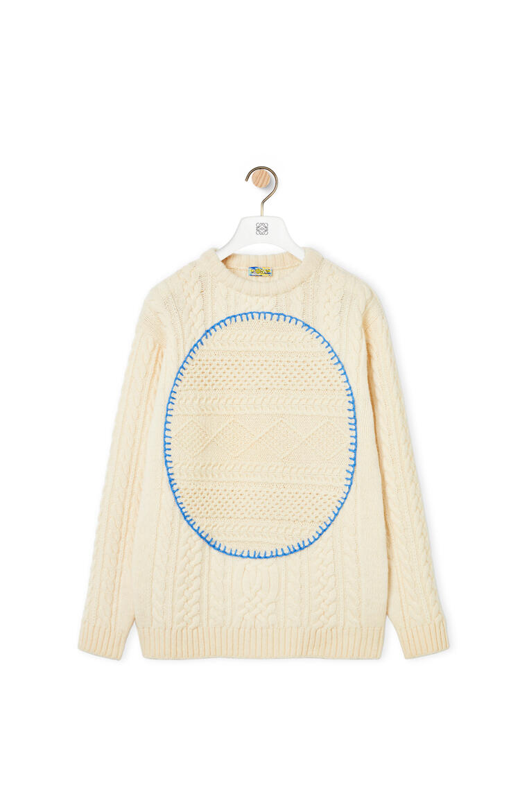 LOEWE Cable sweater in wool Off-white pdp_rd