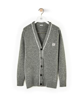LOEWE Flotted Jacquard Wool Cardigan Gris front