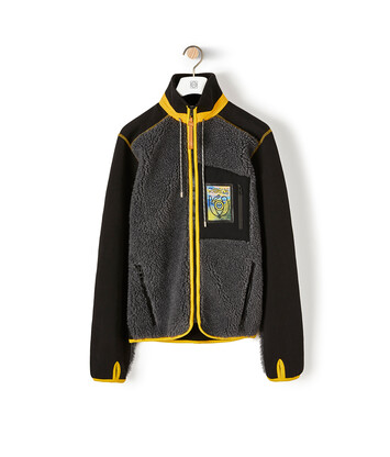 LOEWE Eln High Neck Fleece Jacket Dark Grey/Black front
