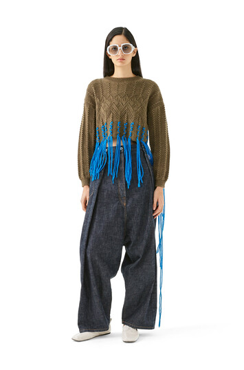LOEWE Cropped Woven Fringe Sweater カーキグリーン/ブルー front