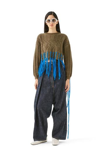 LOEWE Cropped Woven Fringe Sweater Khaki Green/Blue front