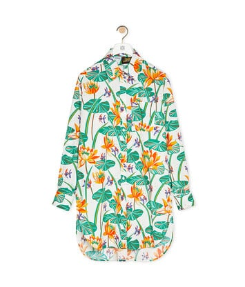 LOEWE Oversize Shirt In Waterlily Silk White/Orange front