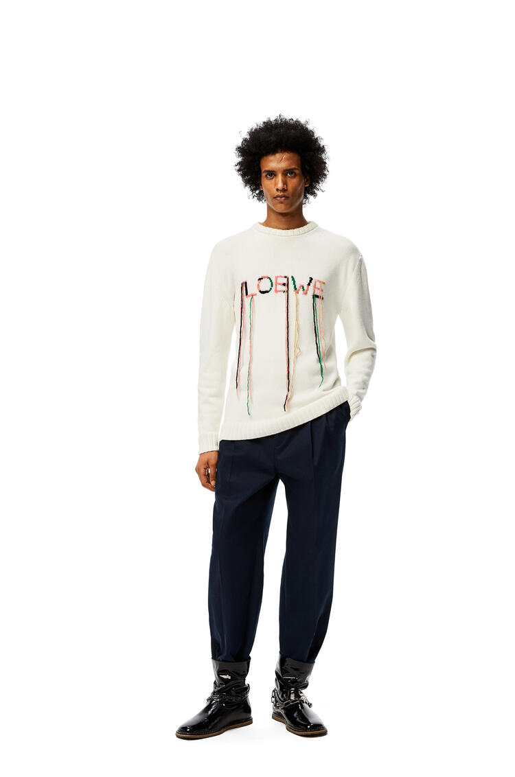 LOEWE LOEWE stitch sweater in cotton White/Pink/Green pdp_rd
