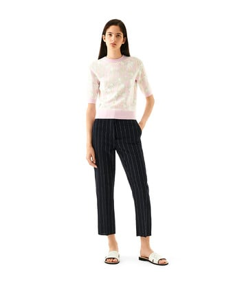 LOEWE Daisy Jacquard Cropped Sweater Rosa/Verde Claro front