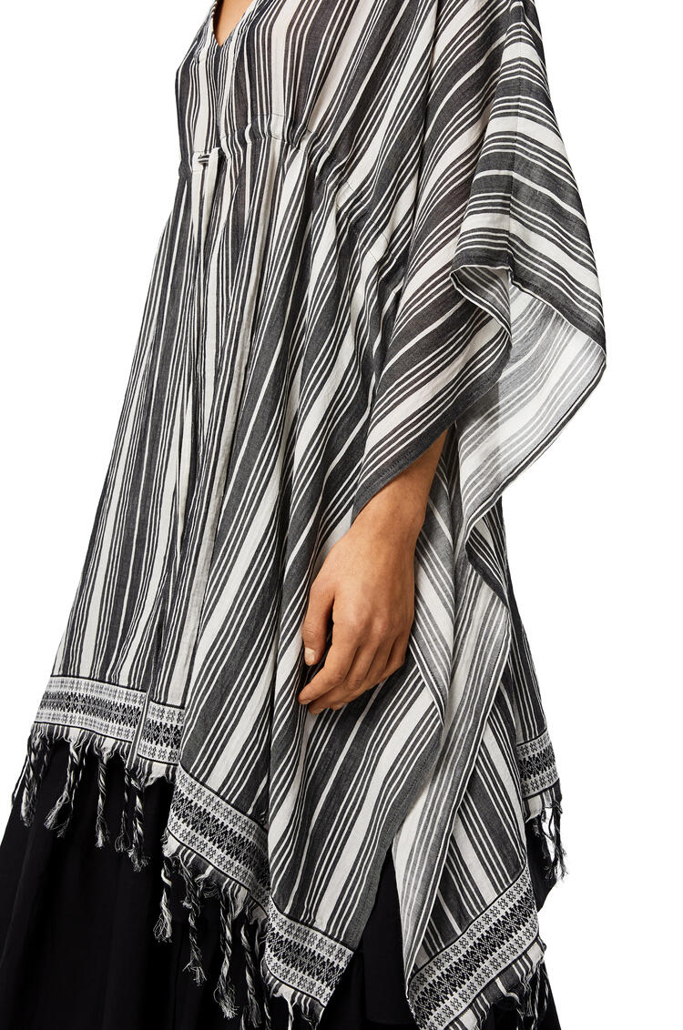 LOEWE Caftan-style top in striped linen Black/White pdp_rd