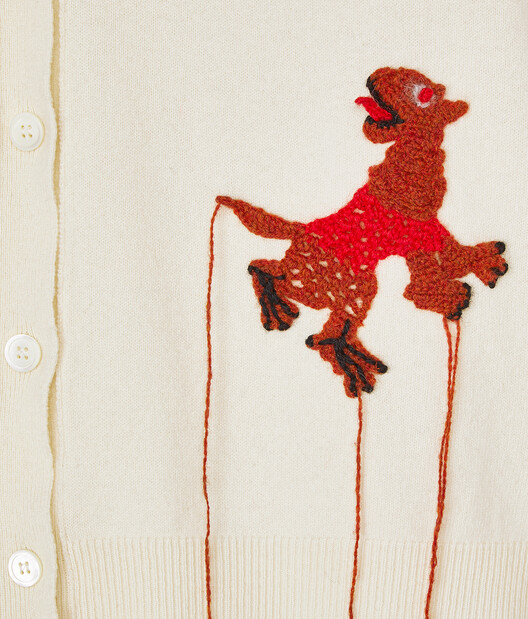 LOEWE Cardigan Crochet Animals Ecru front