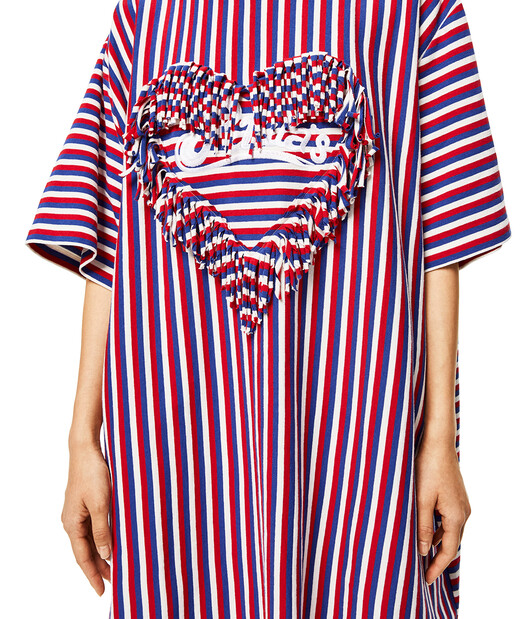 LOEWE Fringed Heart T-Shirt In Striped Cotton Red/White/Blue front