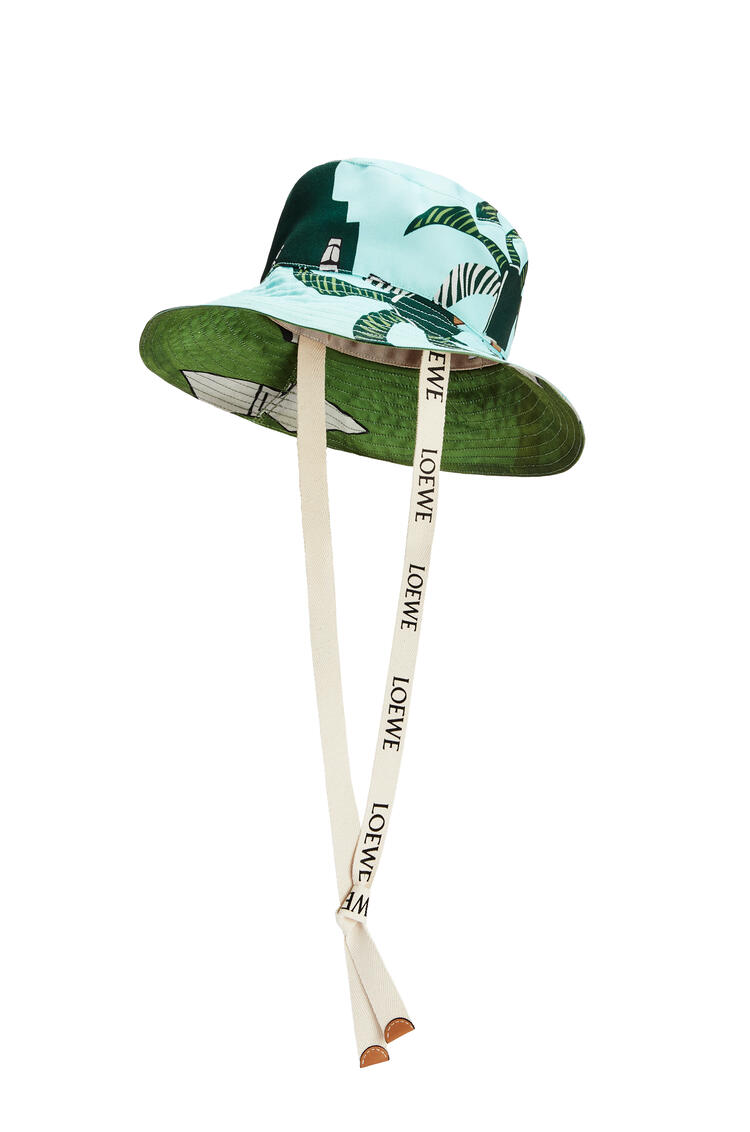 LOEWE Easter Island fisherman hat in canvas and calfskin Mint/Multicolor pdp_rd