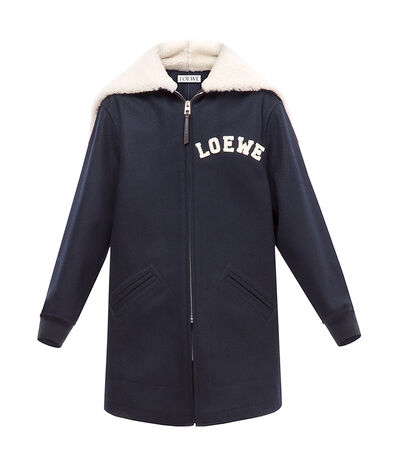 LOEWE Zip Shearling Hood Jacket Dark Navy Blue front