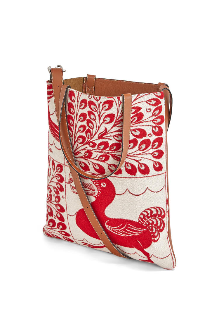 LOEWE Vertical tote bag in wool and calfskin Red pdp_rd