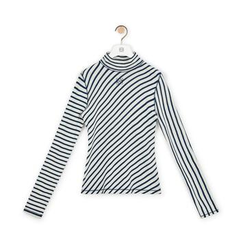 LOEWE Stripe Long Slv T-Shirt Navy/White front