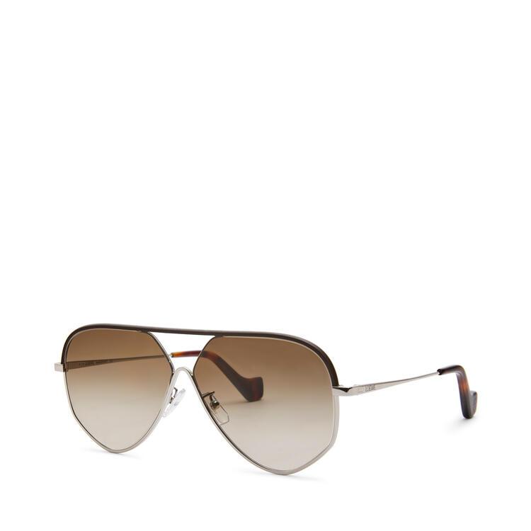LOEWE Pilot leather sunglasses Rhodium/Rhodium/Khaki Green pdp_rd