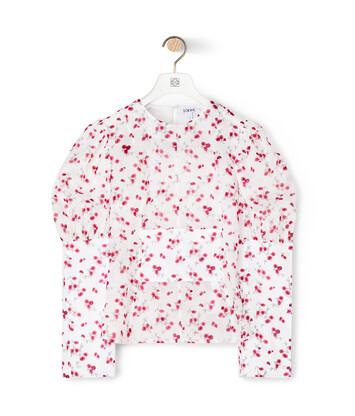 LOEWE Flower Balloon Sleeve Top Blanco/Rosa front
