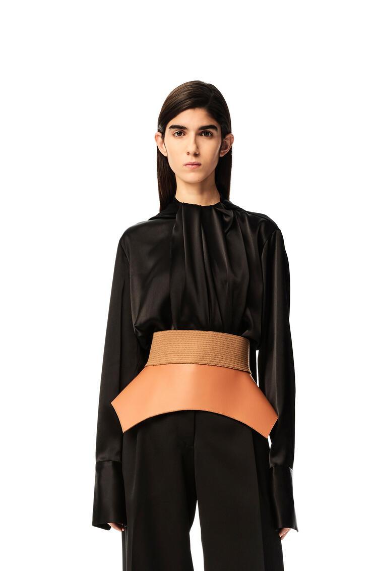 LOEWE Bonded obi belt in nappa and wool Tan pdp_rd