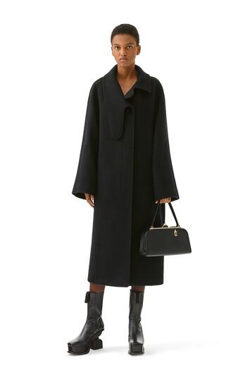 LOEWE Long Asym Collar Coat Negro front