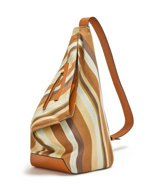 LOEWE Anton Stripes Small Backpack Honey/Multicolor front